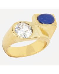 Kojis Gold 1930s Sapphire And Diamond Ring - Metallic