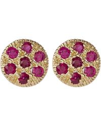 Satomi Kawakita Ruby Disc Stud Earrings - Metallic