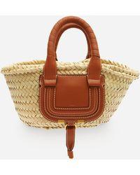 Chloé Marcie Mini Raffia And Leather Basket Bag - Brown
