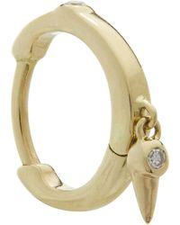 Maria Black Gold Diamond Dangle Huggie Hoop Earring - Metallic