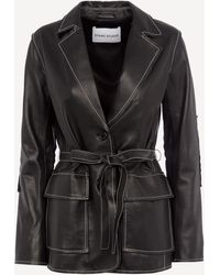 Stand Studio Ariana Leather Blazer Jacket - Black