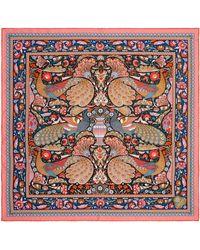 Liberty Peacock Garden 70 X 70cm Silk Twill Scarf - Multicolour