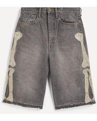 Kapital Kountry Embroidered Bone Denim Shorts - Multicolour