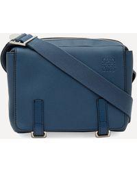 Loewe Military Xs Leather Messenger Bag - Blue