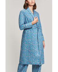 Liberty Imran Long Cotton Robe - Blue