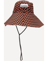 Ganni Check Print Seersucker Bucket Hat - Multicolor