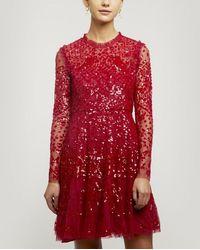 Needle & Thread Aurora Mini-dress - Red