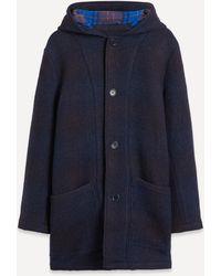 YMC Beat Generation Check Wool Duffle Coat - Blue