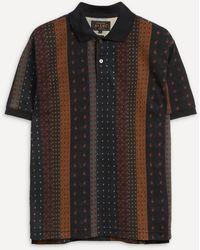 Beams Plus Multi-striped Polo Shirt - Black