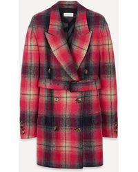 Dries Van Noten Double-breasted Check Coat - Pink