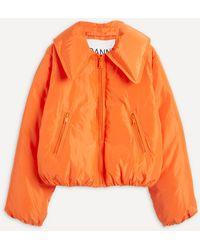Ganni Crop Tech Down Jacket - Orange