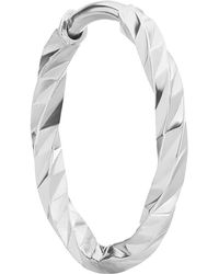 Maria Black White Gold Diamond Cut Huggie Hoop Earring