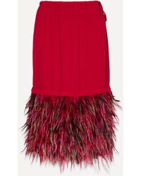 Dries Van Noten Feather Drawstring Midi-skirt - Red