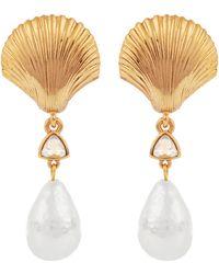 Oscar de la Renta Gold-tone Scallop Shell Faux Pearl Clip-on Drop Earrings - Metallic
