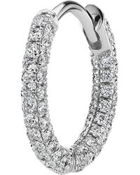 "Maria Tash 5/16"" Diamond Five Row Pavé Hoop Earring - Metallic"
