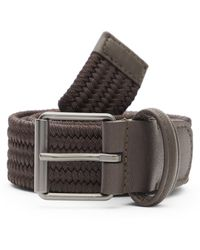 Andersons Slim Leather-trimmed Elasticated Woven Belt - Brown