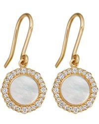 Astley Clarke Gold Vermeil Luna Mother Of Pearl Sapphire Drop Earrings - Metallic