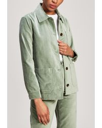 WOOD WOOD Judy Button-up Velour Jacket - Green