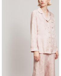Liberty Hera Silk Jacquard Long Pyjama Set - Pink
