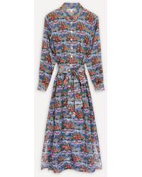 Liberty Dina Cotton Chiffon Shirt Dress - Blue