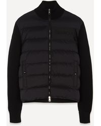 Moncler Knitted Wool And Nylon Padded Cardigan - Black