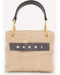 Marni Glossy Grip Small Raffia Tote Bag - Natural