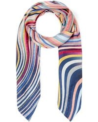 Paul Smith Faded Dot Swirl Silk Scarf - Multicolour