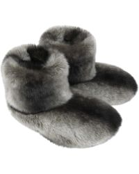 Helen Moore - Chincilla Faux Fur Boot Slippers - Lyst