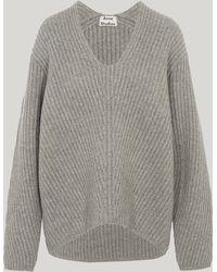 Acne Studios Deborah Wool Long Sleeve Ribbed Jumper - Gray