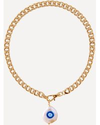 Joolz by Martha Calvo Gold-plated Evil Eye Protection Painted Pearl Pendant Necklace - Metallic