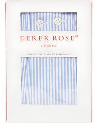 Derek Rose James Classic Stripe Cotton Boxer Shorts - Blue