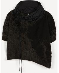 Crea Concept Jacquard-knit Taffeta Cowl Neck Top - Black