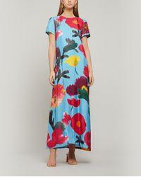 LaDoubleJ Swing Silk Maxi-dress - Blue
