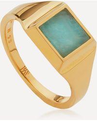 Monica Vinader Gold Plated Vermeil Silver Signature Amazonite Signet Ring - Metallic