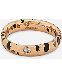 Polly Wales 18ct Rose Gold Black And White Sapphire Confetti Ring - Metallic