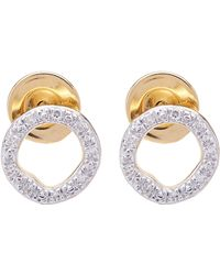 Monica Vinader - Gold-plated Riva Diamond Circle Stud Earrings - Lyst