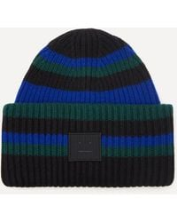 Acne Studios Striped Wool Beanie Hat - Blue
