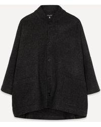 Eskandar Sloped Shoulder Coat - Black