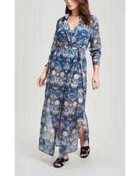 Liberty Arboreal Cotton Chiffon Shirt Dress - Blue