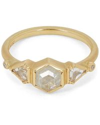 Brooke Gregson Gold Triple Geo Diamond Ring - Metallic