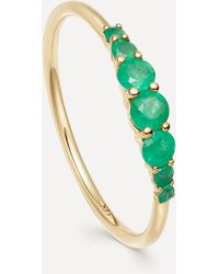 Astley Clarke Gold Emerald Stacking Ring - Multicolour