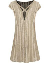 Sarah Pacini - Mid Grey Houara Vertical Rope Detail Dress - Lyst