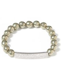 Tai Mid Grey Beaded Crystal Id Bracelet - Gray