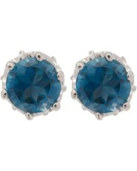 Anna Sheffield - Petite White Gold Solitaire London Blue Topaz Studs - Lyst