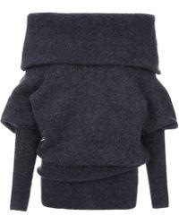 Acne Studios Navy Daze Off The Shoulder Mohair Sweater - Blue