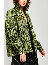 Ganni Tiger Print Denim Jacket - Green