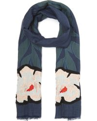 Paul Smith - Floral Stem Embroidered Silk-blend Scarf - Lyst