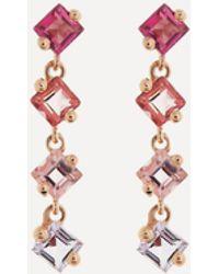 Suzanne Kalan 14ct Rose Gold Princess Cut Multi-stone Drop Earrings - Pink