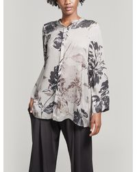 Oska Aalva Floral Printed Twill Top - White