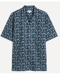 Liberty Bouncing Ball Tana Lawntm Cotton Cuban Collar Casual Shirt - Blue